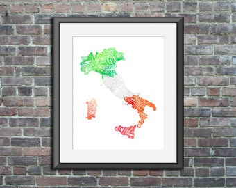 Italy watercolor typography map art print 8x10 country poster wedding engagement graduation gift anniversary wall art decor