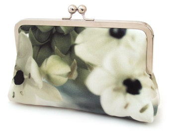 Silk clutch bag, ivory and green flower purse, floral, wedding purse, bridesmaid gift, ON SALE