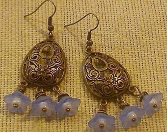 Bellina. Romantic Floral Dangle Light Blue and Brass Vintage Inspired Dangle Style Earrings