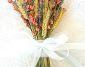 Custom for Catherine 8 Golden Summer Fall Wedding  Bridesmaid Bouquet of Lavender Coral Peach Larkspur and Wheat