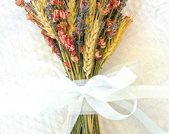 Golden Summer Fall Wedding  Brides Bouquet of Lavender Coral Peach Larkspur and Wheat
