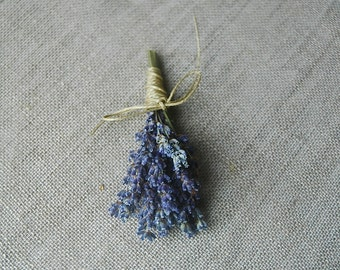 1 Fat Lavender Boutonniere, Pin On or Wrist Corsage with Custom Hemp Twine or Ribbon Wrap