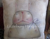 Primitive stitchery Rabbit pillow colored with Derwent Inktense watercolor pencils