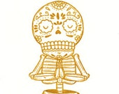 Yoga Calavera Limited Edition Gocco Screenprint Day of the Dead Art