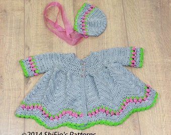 CROCHET PATTERN For Baby Matinee Jacket & Hat in 2 sizes pdf 284 Digital Download
