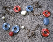 Eco-Friendly Statement Necklace - Turning a Corner - Recycled Vintage Brass Chain and Plastic Beads in Brick Red, Slate Grey and Off-White