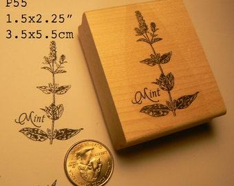 Mint Herb rubber stamp WM P55