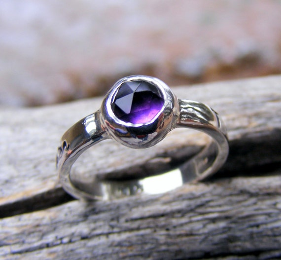 Amethyst Ring, Birthstone Ring, Custom Personalized Ring, Mothers Sterling Silver Ring, Hand Stamped Ring, Purple Gemstone Ring