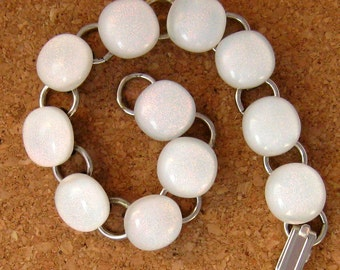 White Dichroic Bracelet - Link Bracelet - Glass Bracelet - Fused Glass Bracelet - Dichroic Jewelry - Fused Glass Jewelry