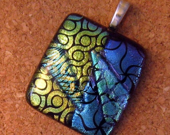 Blue Green Dichroic Pendant Fused Glass Jewelry