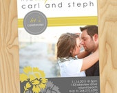 Yellow & Gray Floral - Custom Printable Photo Bridal, Wedding, Couples Shower Invitation Cards, Invites