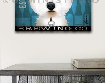 Westie Brewing dog Beer Company illustration graphic art on gallery wrapped canvas by Stephen Fowler