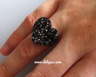 Last one!!! Black glitter Heart big ring laser cut