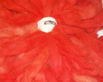 Alpaca Roving, Spinning Fiber, Felting, Doll Hair - Hand Dyed Roving, Alpaca Fiber in Salmon 4 oz.