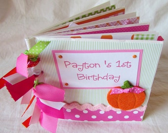 PERSONALIZED --  BaBY'S FiRST BiRthDaY --  CUSTOM Premade Paper Bag Scrapbook Album - YoU PiCK theme and colors