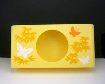 Yellow Plastic Tissue Box, Kleenex Holder, Vintage 1960-70s, Butterflies and Leaves, Bathroom / Bedroom Boudoir Vanity Decor,