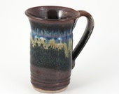 Stoneware Mug - 10 oz. - Ceramic Mug - Dark Brown / Handmade wheel thrown pottery