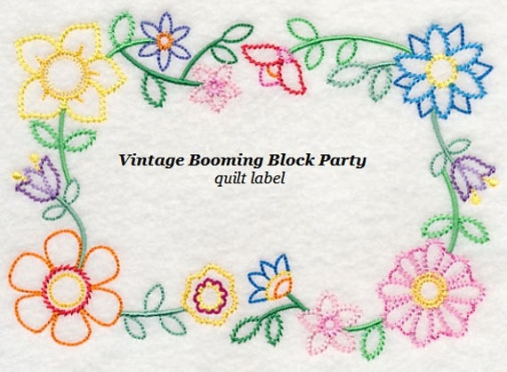 Vintage Blooming Block Party Quilt Label Machine By