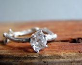 """Herkimer """"Diamond"""" Twig Ring Alternative Diamond Engagement Ring Sterling Silver Stacking Ring Aries April Birthstone"""