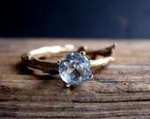 Gold White Topaz Twig Ring Alternative Diamond Engagement Ring Sterling Silver Botanical Ring Aries April Birthstone