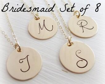 Bridesmaid gift set of EIGHT (8) gold initial necklaces, gold monogram necklace, bridesmaid necklaces, large initial disc, junior bridesmaid