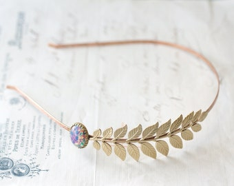 Leaf headband bridal Aphrodite opal elegant Grecian goddess vintage style brass wedding hair accessory roman