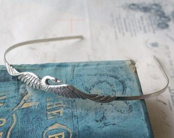 Swan headband bird phoenix silver metal retro crown hair accessory