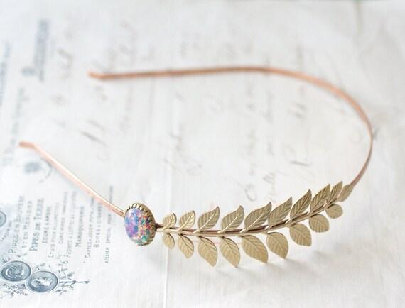 Leaf headband bridal Aphrodite opal elegant Grecian goddess vintage style brass wedding hair accessory roman