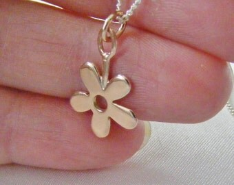 9k Rose Gold Flat Flower Pendant on Silver Chain - handmade rose gold, solid rose gold, best of british jewelry