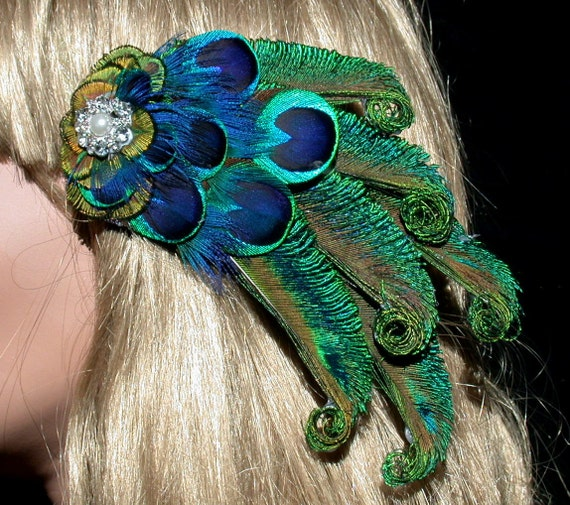 Peacock Bride Hair Barrette with Rhinestone Cluster - Ready to Ship