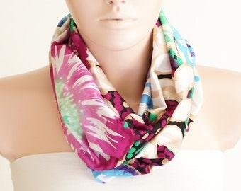 SALE-Infinity Scarf - Loop Scarf - Circle Scarf - Flower Scarf - Pink, green, cream