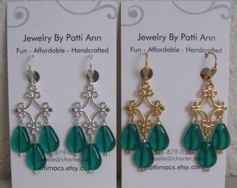 Chandelier Drop Dangle Earrings - Emerald Green