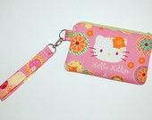 Wristlet Purse with Removable Strap and Interior Pocket - Handcrafted from Hello Kitty Flower Power Fabric