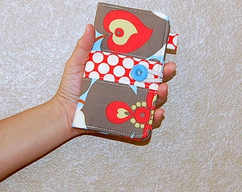 Morning Glory Linen and Full Moon Polka Dot Cherry - iPhone 6 / Samsung Galaxy S5 - Cell Phone / Wallet Organizer