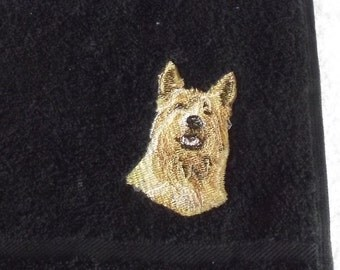 Berger de Picard Dog Embroidered Hand Towel