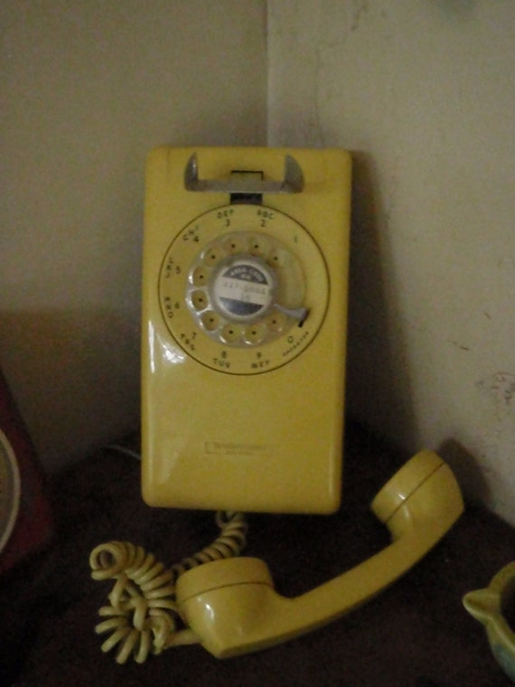 Vintage Yellow Rotary Wall Phone 1970s Works Well By Lahaine