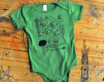 Baby clothes onesie bodysuit vegetable print drawing vegan vegetarian vegan shirt vegan baby veggie lover plant shirt baby shirt