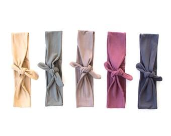 Skinny Tie Up Headscarf // Knotted Headband // Hair wrap // Yoga Hairband // Stretch Hairband // Fabric Headband