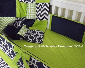 REGISTRY FOR Sarah Wittbrodt Navy & Lime Chevron Dots Stripes MOD Baby Quilt