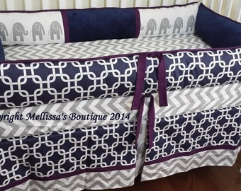 Custom Mod Navy with Grey & Accent 3-Piece Complete Designer Boutique Crib Nursery Bedding Set CUSTOMIZE MADE To ORDER