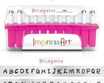 BRIDGETTE UPPERCASE - handwriting like font - steel letter and 7 BONUS stamps  - 1/8 inch (3mm) size - how to stamp tutorial