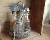 VINTAGE DECOR...mustard oil vinegar caddy condiments - organize - table setting - office - glass ~ metal