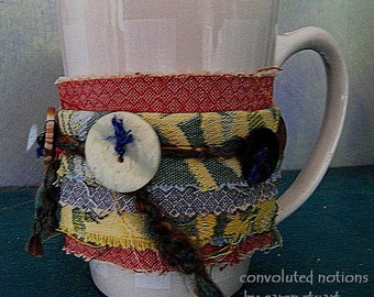 coffee cup cozy handmade wrist cuff fabric bracelet with vintage buttons and upcycled fabric remnants