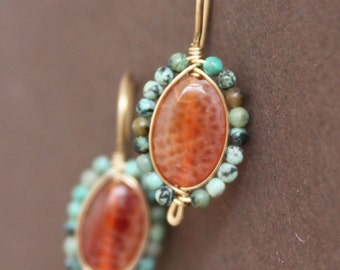 Fire Agate Earrings with African Turquoise Bead Wire Wrapped Bezel Gold Filled Handcrafted