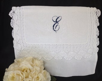 Embroidered Ladies Crochet Linen Lingerie Bag | Lace | Personalized | Monogrammed | Lucy's Pocket