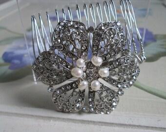 Bridal hair accessories/ wedding hair accessories/ handmade diamante bridal vintage look comb