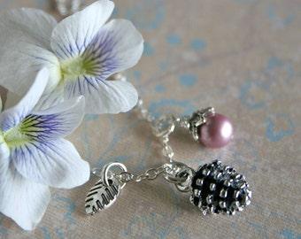 Woodland Wedding Bridesmaid Necklaces, Bridesmaid Set, Pinecone, Bridesmaid Jewelry Set