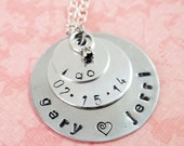 """Triple Stacker """"I Do"""" Hand Stamped Necklace"""