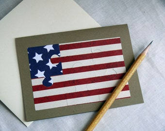 Blank Card Set USA American Flag Puzzle Cards Set of 5 Cards
