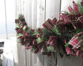 Burgundy Hunter Green Rag Garland Burlap Homespun Fabric Organza Jute Rustic Christmas Cottage Chic Decor